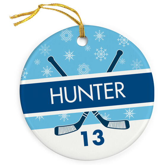 Hockey Porcelain Ornament Personalized 2 Tier Patterns with Crossed Sticks