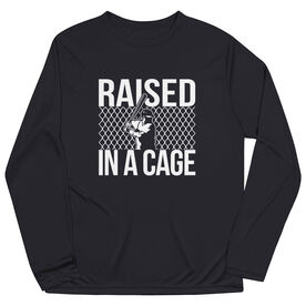 Baseball Long Sleeve Performance Tee - Raised in a Cage Baseball