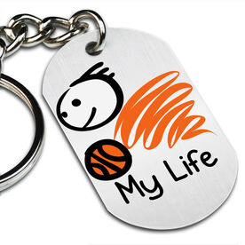 My Life Basketball (Male) Printed Dog Tag Keychain