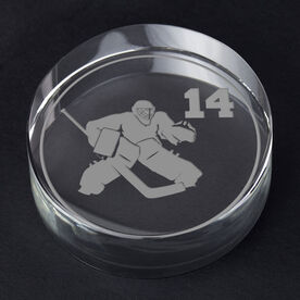 Hockey Personalized Engraved Crystal Puck - Personalized Silhouette (Goalie)