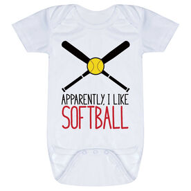 Softball Baby One-Piece - Apparently, I Like Softball