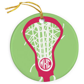 Girls Lacrosse Porcelain Ornament Monogrammed Lax is Life