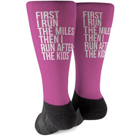 Running Printed Mid-Calf Socks - Then I Run After The Kids