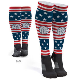 Volleyball Printed Knee-High Socks - USA Stars and Stripes