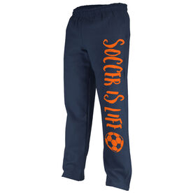 Soccer Fleece Sweatpants Soccer is Life with Soccer Ball