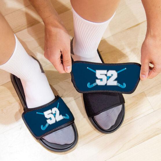 Field Hockey Repwell™ Slide Sandals - Crossed Field Hockey Sticks with Numbers