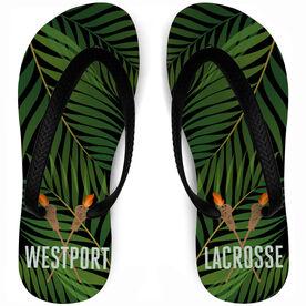 Guys Lacrosse Flip Flops Tropical Custom Team Name