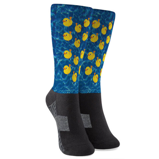 Guys Lacrosse Printed Mid-Calf Socks - Rubber Ducky
