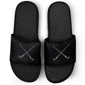 Field Hockey Black Slide Sandals - Crossed Field Hockey Sticks