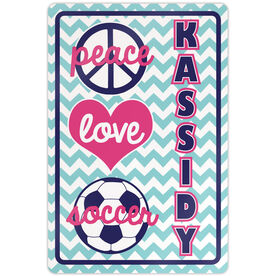 "Soccer Aluminum Room Sign Personalized Peace Love Soccer Chevron (18"" X 12"")"