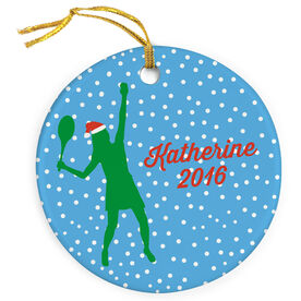 Tennis Porcelain Ornament Silhouette With Santa Hat Female