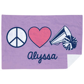 Cheerleading Premium Blanket - Personalized Peace Love Cheer