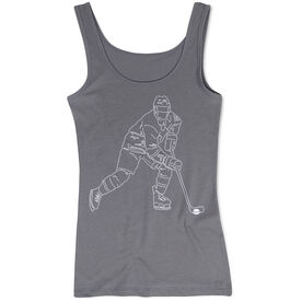 Hockey Women's Athletic Tank Top - Hockey Player Sketch