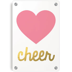 Cheerleading Metal Wall Art Panel - Heart With Gold