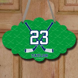 Hockey Cloud Room Sign Personalized Hockey Crossed Sticks