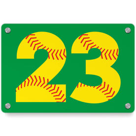Softball Metal Wall Art Panel - Number Stitches