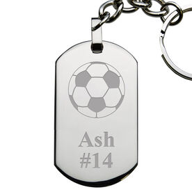 Soccer Engraved Stainless Steel Dog Tag Keychain