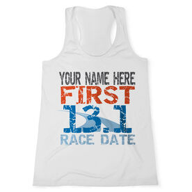 Women's Customized Performance Tank Top First Half Marathon (Distressed) (White Tank Top)