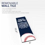 "Baseball 12.5"" X 4"" Removable Wall Tile - Dear Dad (Vertical)"