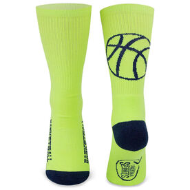 Basketball Woven Mid-Calf Socks - Ball Silhouette (Neon Yellow/Navy Blue)