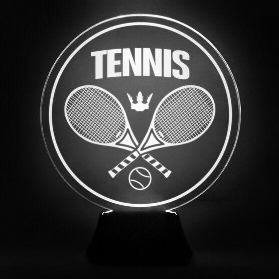 Tennis Acrylic LED Lamp Crossed Racquets