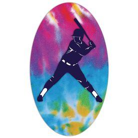 Softball Oval Car Magnet Tie Dye Batter