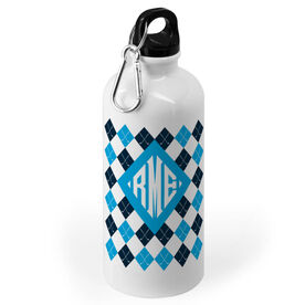 Golf 20 oz. Stainless Steel Water Bottle - Argyle Pattern With Monogram