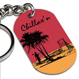 Lacrosse Printed Dog Tag Keychain Chillax'n Beach Guys