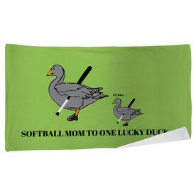 Softball Beach Towel Mom Lucky Ducks