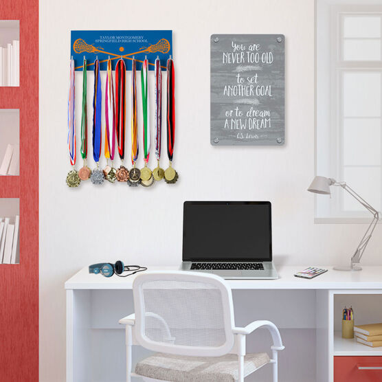 Girls Lacrosse Hooked on Medals Hanger - Personalized Text With Crossed Sticks