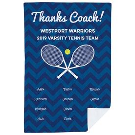 Tennis Premium Blanket - Personalized Thanks Coach Chevron