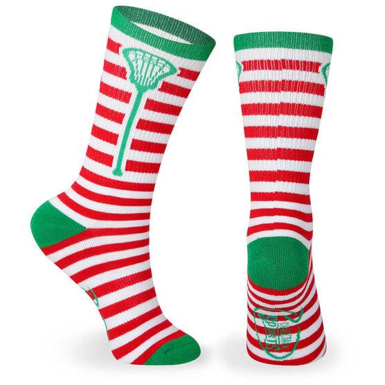Lacrosse Woven Mid Calf Socks - Stripes (Red/White)