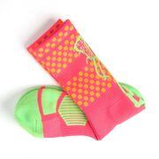Girls Lacrosse Woven Mid-Calf Socks - Aloha (Pink/Orange/Green)