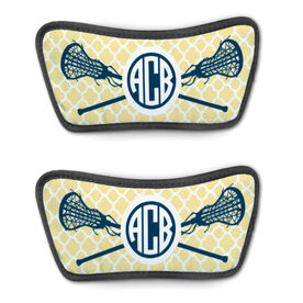 Girls Lacrosse Repwell™ Sandal Straps - Personalized Monogram Sticks with Quatrefoil Pattern