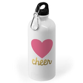 Cheerleading 20 oz. Stainless Steel Water Bottle - Heart With Gold Cheer