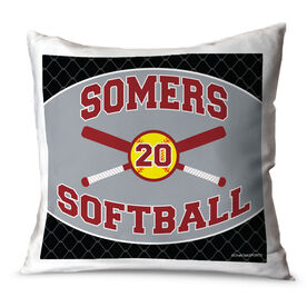Softball Throw Pillow Personalized Softball Team With Crossed Bats And Number