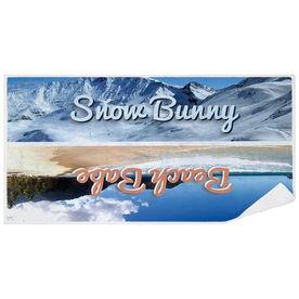 Skiing Premium Beach Towel - Snow Bunny Beach Babe