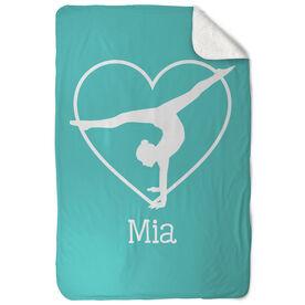 Gymnastics Sherpa Fleece Blanket - Personalized Heart Gymnast