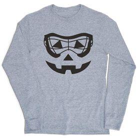 Girls Lacrosse Tshirt Long Sleeve - Lacrosse Goggle Pumpkin Face