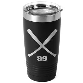 Softball 20 oz. Double Insulated Tumbler - Personalized Crossed Bats