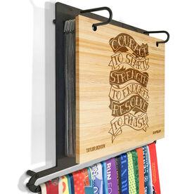 Engraved Bamboo BibFOLIO Plus Race Bib and Medal Display Courage To Start Tattoo