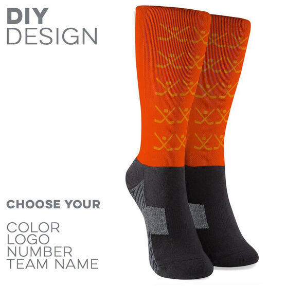 Hockey Printed Mid-Calf Socks - Team Socks Hockey Sticks Pattern