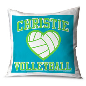 Volleyball Throw Pillow Personalized Volleyball Heart