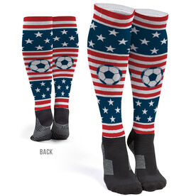 Soccer Printed Knee-High Socks - USA Stars and Stripes