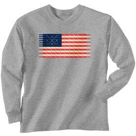 Hockey Tshirt Long Sleeve Hockey Laces Flag