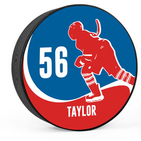 Personalized Player with Team Colors Hockey Puck