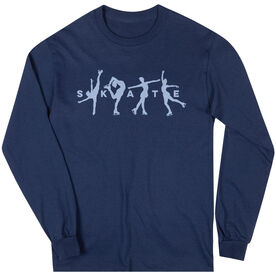 Figure Skating Long Sleeve Tee - Skate With Silhouettes