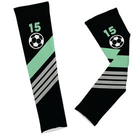 Soccer Printed Arm Sleeves Personalized Soccer Ball with Stripes