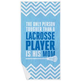 Guys Lacrosse Premium Beach Towel - Tougher Than A Lacrosse Player