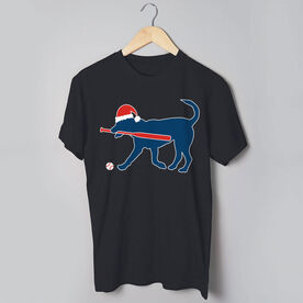 Softball T-Shirt Short Sleeve Play Ball Christmas Dog